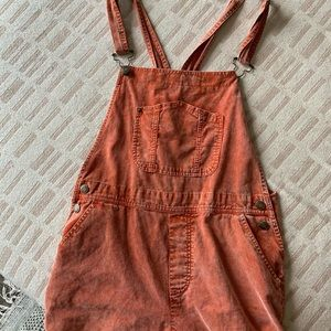 Pink corduroy overalls